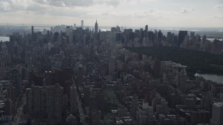 AX87_134 - 4K stock footage aerial video Flying by Upper East Side, Midtown Manhattan, New York, New York