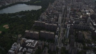 AX87_140 - 4K stock footage aerial video Tilting from Upper West Side, Midtown Manhattan, Central Park, New York
