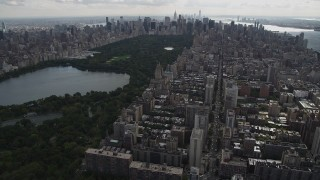 AX87_141 - 4K stock footage aerial video Flying over Upper West Side, Central Park; New York, New York