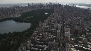 AX87_142 - 4K stock footage aerial video Flying over Upper West Side, Central Park, New York, New York