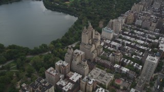AX87_143 - 4K stock footage aerial video Flying by The Eldorado, Upper West Side, New York, New York