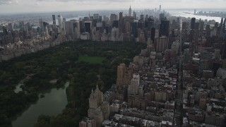 AX87_146 - 4K stock footage aerial video Approaching Midtown Manhattan skyscrapers, Upper West Side, New York