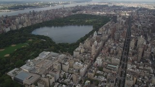 AX87_154 - 4K stock footage aerial video Flying over Upper East Side, Central Park, Metropolitan Museum of Art, New York