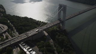 AX87_164 - 4K stock footage aerial video Flying by George Washington Bridge, Hudson River, New York, New York