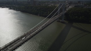 AX87_166 - 4K stock footage aerial video Flying by the George Washington Bridge, Hudson River, New York, New York