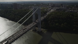 AX87_167 - 4K stock footage aerial video Fly by George Washington Bridge, Hudson River, toward New Jersey, New York