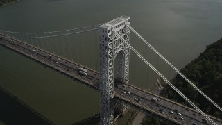AX87_168 - 4K stock footage aerial video Fly by George Washington Bridge, Hudson River, New Jersey, New York