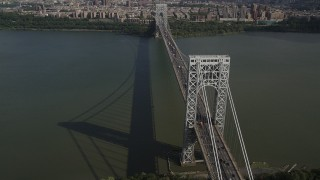 AX87_169 - 4K stock footage aerial video Flying by George Washington Bridge, Hudson River, New Jersey, New York