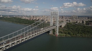 AX87_172 - 4K stock footage aerial video Fly by George Washington Bridge, Hudson River, Washington Heights, New York