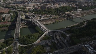 AX87_174 - 4K stock footage aerial video Approaching Alexander Hamilton Bridge, Washington Heights, New York, New York