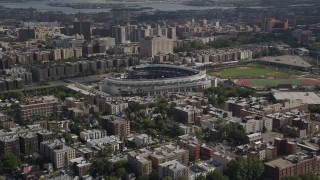 AX87_176 - 4K stock footage aerial video Flying by Yankee Stadium, Bronx, New York