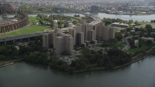 AX87_183 - 4K stock footage aerial video Approach Manhattan Psychiatric Center, Wards Island, Manhattan, New York