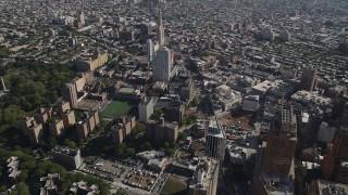 AX88_010 - 4K stock footage aerial video of flying over Long Island University Brooklyn Campus, Brooklyn, New York