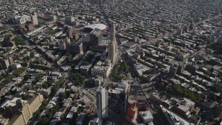 AX88_012 - 4K stock footage aerial video approach Williamsburgh Savings Bank Tower office building and Barclays Center arena, Brooklyn, New York