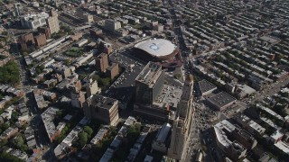 AX88_013 - 4K stock footage aerial video fly over Williamsburgh Savings Bank Tower office building near Barclays Center arena, Brooklyn, New York