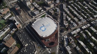 AX88_014 - 4K stock footage aerial video of approaching Barclays Center, tilt to bird's eye view of arena, Brooklyn, New York