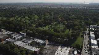 AX88_022 - 4K stock footage aerial video of approaching the Green-Wood Cemetery, Brooklyn, New York