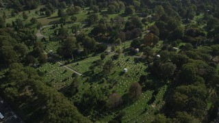 AX88_023 - 4K stock footage aerial video of grave markers at Green-Wood Cemetery in Brooklyn, New York