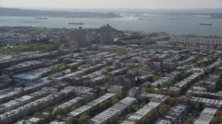 AX88_029 - 4K stock footage aerial video of the Basilica of Our Lady of Perpetual Help and row houses, Brooklyn, New York