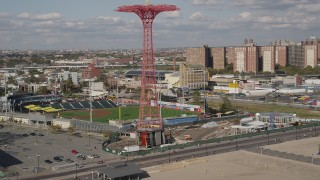 AX88_050 - 4K stock footage aerial video pan from Parachute Jump revealing Luna Park, Coney Island, Brooklyn, New York