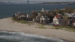 AX88_069 - 4K stock footage aerial video of beachfront homes in Coney Island, Brooklyn, New York, New York