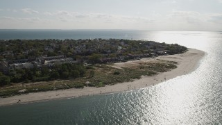 AX88_074 - 4K stock footage aerial video of flying by homes near the beach, Coney Island, Brooklyn, New York, New York