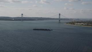 AX88_075 - 4K stock footage aerial video of the Verrazano-Narrows Bridge spanning The Narrows, New York