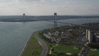 AX88_078 - 4K stock footage aerial video of the Verrazano-Narrows Bridge and The Narrows, seen from Brooklyn, New York
