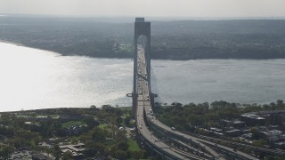 AX88_080 - 4K stock footage aerial video flyby Verrazano-Narrows Bridge and The Narrows, Brooklyn, New York