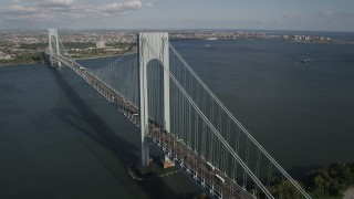 AX88_082 - 4K aerial stock footage video of passing by Verrazano-Narrows Bridge, seen from Staten Island, New York, New York