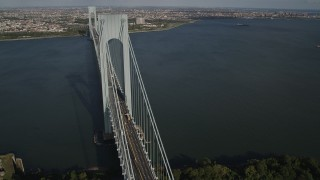AX88_083 - 4K stock footage aerial video of flying by Verrazano-Narrows Bridge, seen from Staten Island, New York, New York