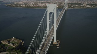 AX88_084 - 4K stock footage aerial video of Verrazano-Narrows Bridge, seen from Staten Island, New York, New York