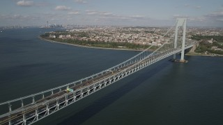 AX88_086 - 4K stock footage aerial video fly beside the Verrazano-Narrows Bridge, The Narrows, New York, New York