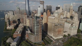 AX88_148 - 4K stock footage aerial video of flying by skyscrapers near Hudson River, Lower Manhattan, New York, New York