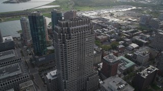 AX88_168 - 4K stock footage aerial video of the Merrill Lynch Building skyscraper, Downtown Jersey City, New Jersey