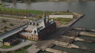AX88_177 - 4K stock footage aerial video of orbiting Central Railroad Terminal in Jersey City, New Jersey