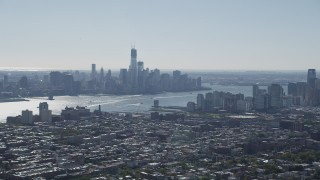 AX91_002 - 4K stock footage aerial video of the Lower Manhattan skyline and Hudson River, New York seen from Union City, New Jersey