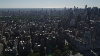 AX91_008 - 4K stock footage aerial video of flying by Upper West Side apartment buildings, New York, New York