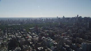 AX91_009 - 4K stock footage aerial video of passing by Upper West Side apartment buildings, New York, New York