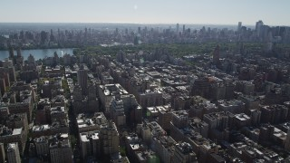 AX91_010 - 4K stock footage aerial video of passing by Upper West Side apartment buildings, New York, New York