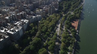 AX91_012 - 4K stock footage aerial video of flying away from Henry Hudson Parkway, Upper West Side, New York, New York