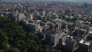 AX91_013 - 4K stock footage aerial video of flying by apartment buildings and Columbia University, Morningside Heights, New York