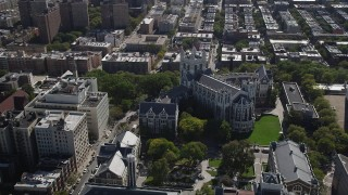 AX91_015 - 4K stock footage aerial video of orbiting City College of New York, Hamilton Heights, New York