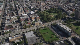 AX91_020 - 4K stock footage aerial video of panning across the Cross Bronx Expressway freeway, The Bronx, New York