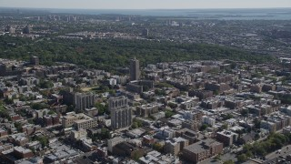 AX91_021 - 4K stock footage aerial video of approaching Bronx Park, The Bronx, New York