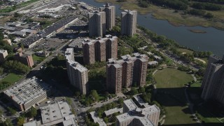 AX91_027 - 4K stock footage aerial video of flying over Co-op City apartment buildings in The Bronx, New York, New York