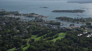 AX91_029 - 4K stock footage aerial video of flying by a marina on the coast, New Rochelle, New York