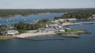 AX91_043 - 4K stock footage aerial video of flying by the American Yacht Club, Rye, New York