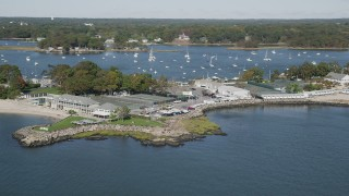 AX91_044 - 4K stock footage aerial video of passing the American Yacht Club, Rye, New York