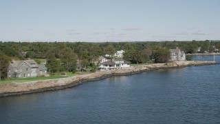 AX91_047 - 4K stock footage aerial video of a row of oceanfront mansions, Rye, New York